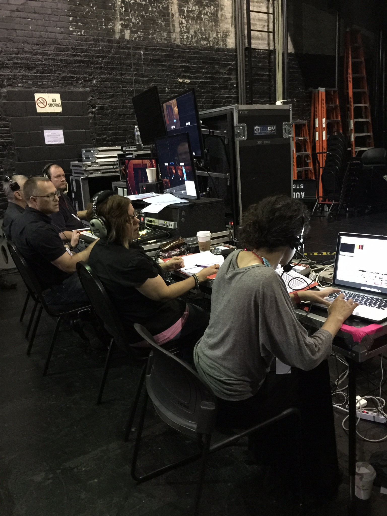 The backstage tech team working to make things as smooth and perfect as possible.